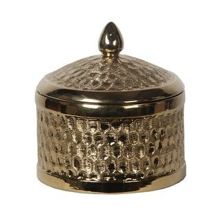 Metallic Goldtone Small Round Ceramic Jar with Lid