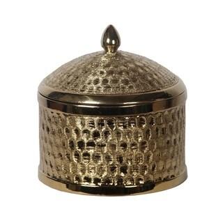 Metallic Goldtone Large Round Ceramic Jar with Lid