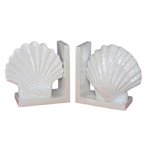 White Ceramic Shell Bookends (Set of 2)