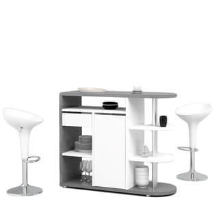 Fulton Grey And White High Gloss Bar