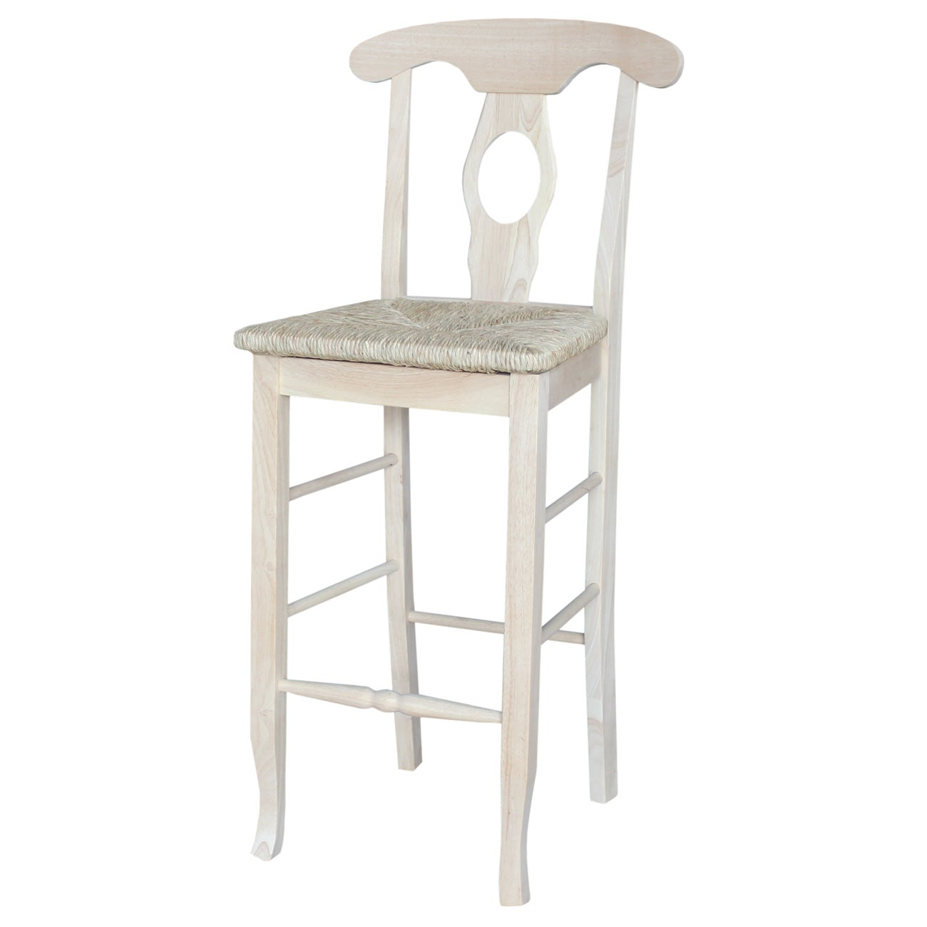 Empire White Wood 30-inch Bar Stool with Rush Seat and Au...