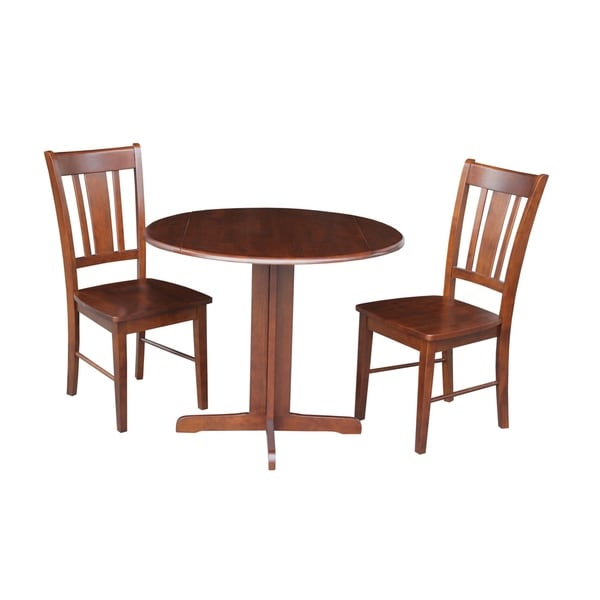 International Concepts Dual Drop Leaf 36 Inch Dining Table With Two San Remo Chairs In