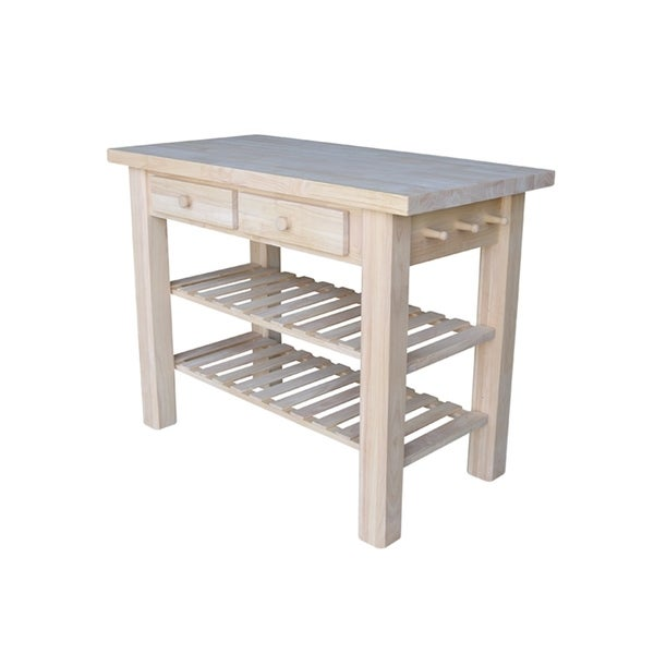 Ready to Finish Kitchen Island with Adjustable Shelves - N/A