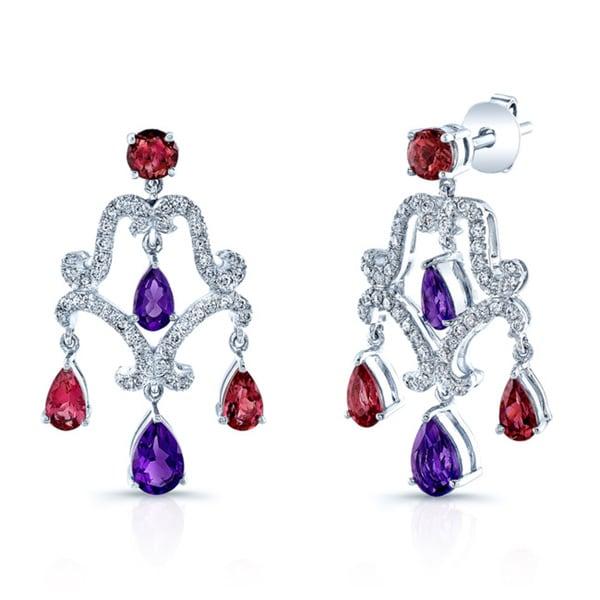 Estie G 14k White Gold 1/2ct TDW Diamond and Gemstone Chandelier Earrings (H-I, VS1-VS2)
