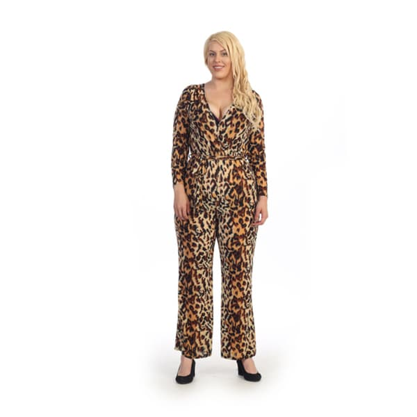 Shop Ella Samani Plus Size Animal Print Jumpsuit Ships To Canada