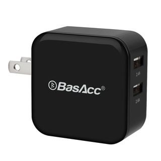 BasAcc 4.8A/ 24W 2-Port USB Travel Wall Charger for Apple iPhone SE/ 6 Plus/ iPad Air/ Mini/ iPod/ Samsung Galaxy S6/ S6 Edge