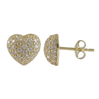 Luxiro Sterling Silver Pave Cubic Zirconia Heart Stud Earrings