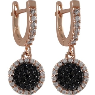 Luxiro Sterling Silver Pave Cubic Zirconia Circle Dangle Earrings