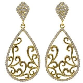 Luxiro Sterling Silver Gold Finish Cubic Zirconia Filigree Teardrop Earrings