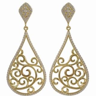 Sterling Silver Gold Finish Cubic Zirconia Filigree Teardrop Earrings