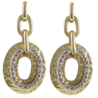 Luxiro Two-tone Sterling Silver and Cubic Zirconia Floating Oval Earrings