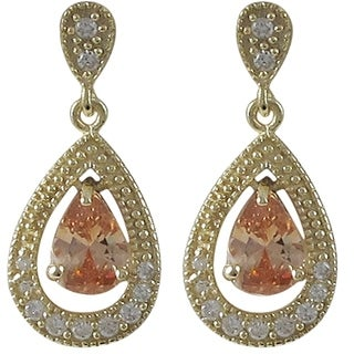 Sterling Silver Gold Finish Cubic Zirconia Floating Teardrop Earrings