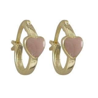 Luxiro Gold Finish Sterling Silver Children's Enamel Heart Hoop Earrings