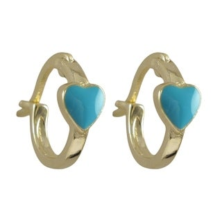 Luxiro Gold Finish Sterling Silver Children's Enamel Heart Hoop Earrings