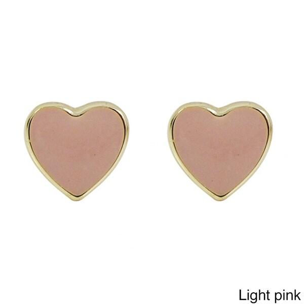 Jewels By Lux 14K Rose Gold Heart Stud Earrings