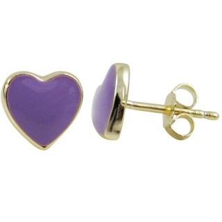 Luxiro Gold Finish Sterling Silver Children's Enamel Heart Stud Earrings