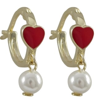 Luxiro Sterling Silver Gold Finish Enamel Heart Faux Pearl Dangle Earrings