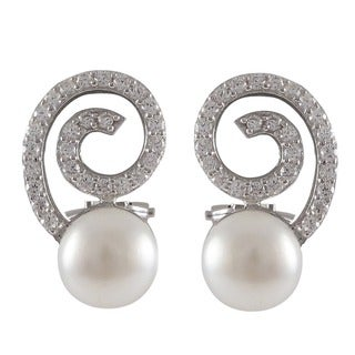 Sterling Silver Cubic Zirconia Spiral Freshwater Pearl Earrings