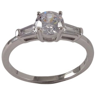 Luxiro Sterling Silver Cubic Zirconia Promise and Engagement Ring
