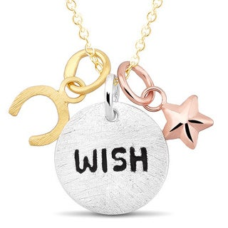 Sterling Silver Horseshoe 'Wish' and Puffed Star Charm Necklace