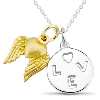 Sterling Silver Cutout 'Love' and Heart with Wings Charm Necklace