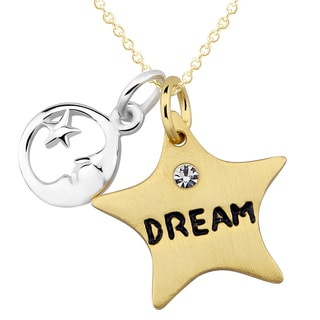 Sterling Silver Star 'Dream' Cubic Zirconia Moon and Star Charm Necklace