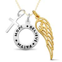 Sterling Silver Wing 'Hope,' 'Faith,' 'Believe' and Cross Charm Necklace
