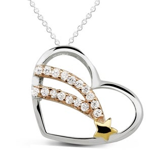 Tri-color Sterling Silver Cubic Zirconia Shooting Star Heart Necklace