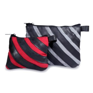Handmade Cotton Recycled Bicycle Inner Tube 'Eco Chic' Cosmetic Bags (Set of 2) (Guatemala)