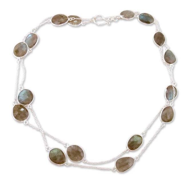 Sterling Silver 'Duduma Majesty' Labradorite Necklace