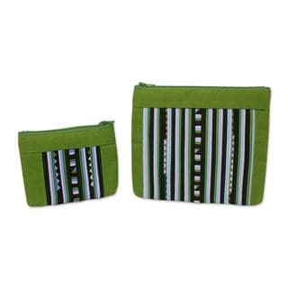Handmade Set of 2 Cotton Blend 'Exotic Lisu in Green' Cosmetic Bags (Thailand)