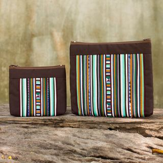 Handmade Set of 2 Cotton Blend 'Exotic Lisu in Brown' Cosmetic Bags (Thailand)