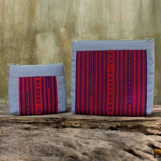 Handmade Set of 2 Cotton Blend 'Exotic Lisu in Grey' Cosmetic Bags (Thailand)