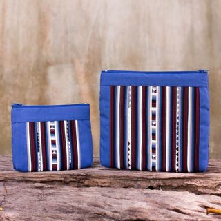 Handmade Set of 2 Cotton Blend 'Exotic Lisu in Blue' Cosmetic Bags (Thailand)