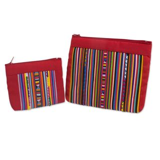 Handmade Set of 2 Cotton Blend 'Lisu Fire' Cosmetic Bags (Thailand)