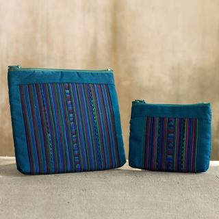Handmade Set of 2 Cotton Blend 'Lisu Rainforest' Cosmetic Bags (Thailand)