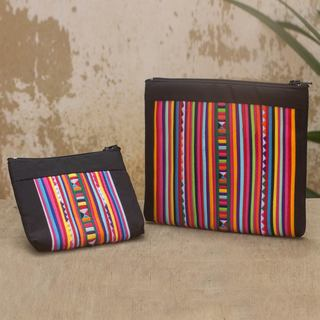 Handmade Set of 2 Cotton Blend 'Lisu Rainbow' Cosmetic Bags (Thailand)