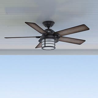 Ceiling fans for less overstock hunter key biscayne weathered zinc 5 blade ceiling fan aloadofball Image collections
