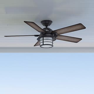 Buy industrial ceiling fans online at overstock our best hunter key biscayne weathered zinc 5 blade ceiling fan aloadofball Images