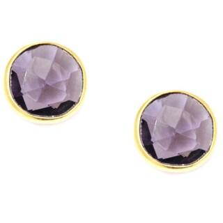Pori 18k Goldplated Sterling Silver Round Bezel Amethyst Gemstone Stud Earrings