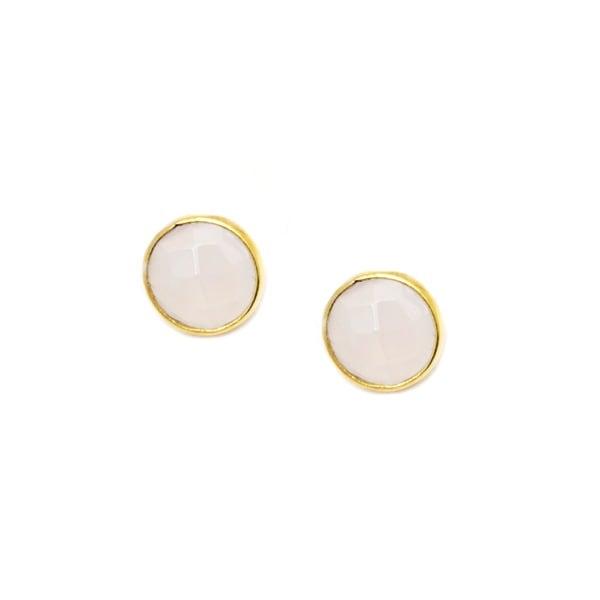 Pori Goldplated Sterling Silver Round Bezel White Onyx Gemstone Stud Earrings