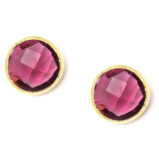 Pori 18k Goldplated Sterling Silver Round Bezel Pink Hydro Gemstone Stud Earrings