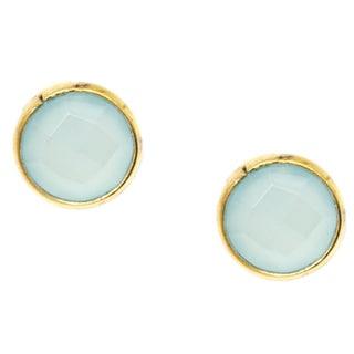 Pori 18k Goldplated Sterling Silver Round Bezel Sea Green Gemstone Stud Earrings