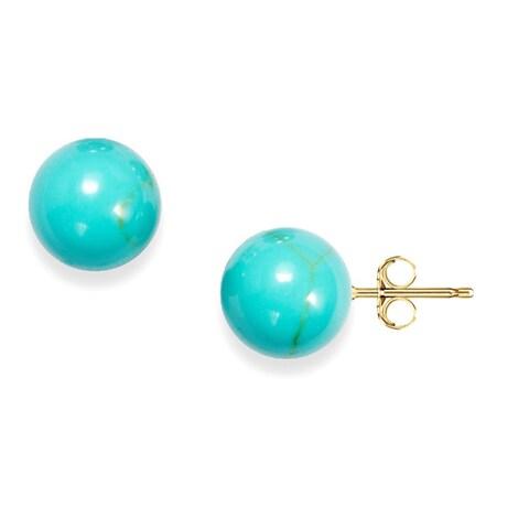 Pori 14k Yellow Gold Turquoise Ball Stud Earrings