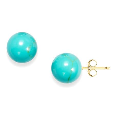 Pori 14k Yellow Gold Turquoise Ball Stud Earrings