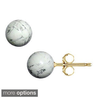 Pori 14k Gold White Onyx Ball Stud Earrings