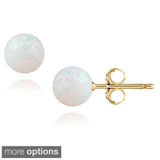 Pori 14k Gold Created White Opal Ball Stud Earrings