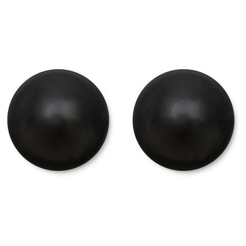 Pori 14k Gold Black Onyx Ball Stud Earrings