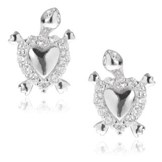 Journee Collection Sterling Silver CZ Turtle Heart Shell Stud Earrings
