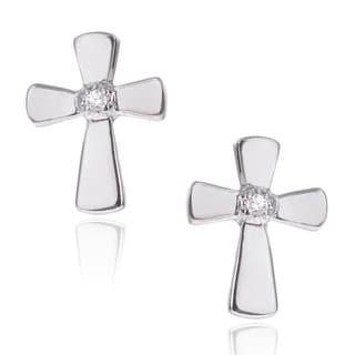 Journee Collection Sterling Silver Cubic Zirconia Cross Stud Earrings